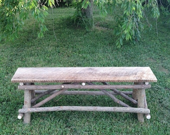 Plank Top Twig Bench, Rustic Wedding Gift, Anniversary Gift, Free Shipping