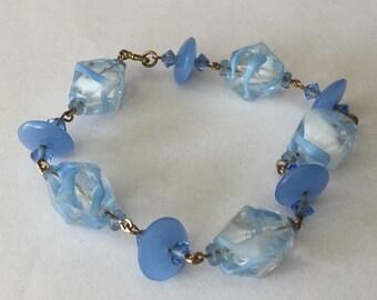 Vintage Venetian Glass Bead Swirled Bracelet