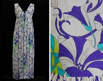 Size 8 Sun Dress - Domitilla 1960s Resort Gown - Haute Quality 60s Maxi Length - Morning Glories Silk - Italian Label - Bust 33.5 - 46624