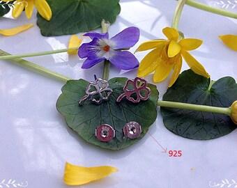 Stud earrings, Silver earrings, 925 earrings, Flower earrings, Clover earrings, For good luck, Gift for daughter, Clover jewelry