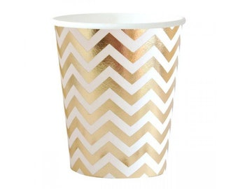 Gold Chevron Paper Cup