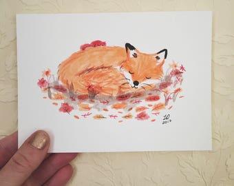 Sleeping Fox Original Illustration (Inktober 2017)