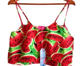 Red Retro Watermelon Crop Camisole