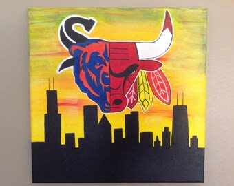 Chicago Art - All Sports Cityscape with White Sox 12x12