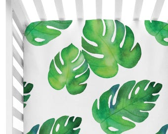Tropical Watercolor Palms | Palm Crib Sheet | Watercolor Fitted Crib Sheet | Gender Neutral Baby Nursery