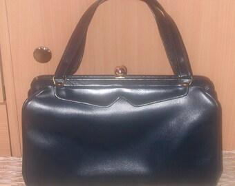 Vintage 50's/60's Navy Blue Vinyl Grace Kelly Style Handbag by Merit New York