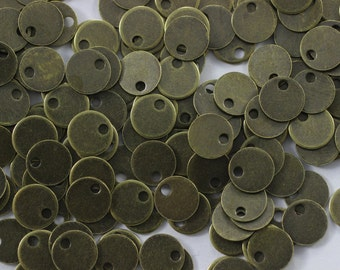300 Pcs 26 Gauge Antique Brass Round Stamping Blanks, 6 mm one Hole Bronze Coins, Round Stamping Discs, Stamping Blanks, Stamping Tags