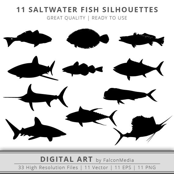 11 saltwater fish silhouettes clip art cut files instant rh etsy com Texas Redfish Redfish Tail