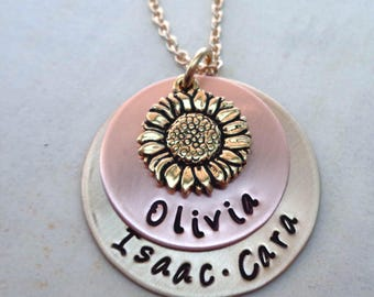 Sunflower Necklace -You are My Sunshine Sunflower Necklace -Personalized Names -Custom Names Necklace - Valentines -Rustic Jewelry-S73