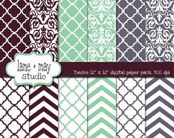 digital papers - chevron, quatrefoil and damask patterns - INSTANT DOWNLOAD