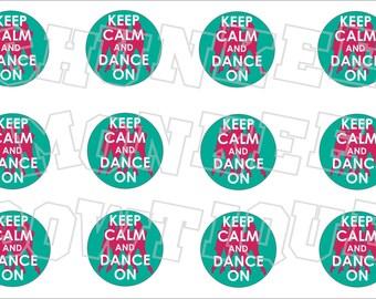 Keep Calm and Dance On bottlecap image sheet - teal