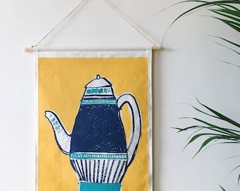 Original Three colour Screen Printed Vase Wall Hanging Made By Hand