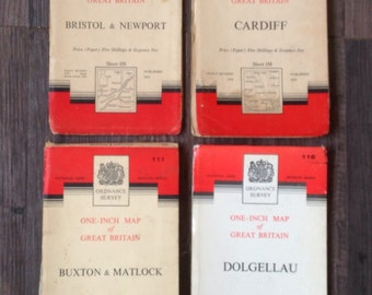Vintage Ordnance Survey Maps. 1950's/60's
