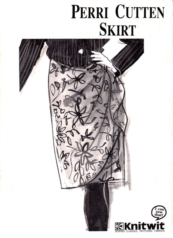 90s Knitwit 201 Perri Cutten Design Fitted Skirt with Draped Overlay ...