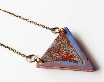 """Handcrafted ceramic triangle style packed pattern lace, unique necklace """"Bout print"""""""