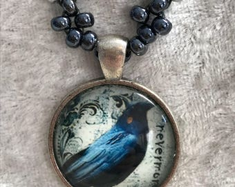 Crow Spirit Shrine bead woven necklace