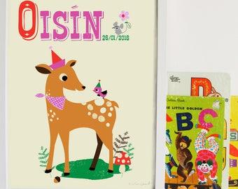 Personalised Deer Baby Name Print, letter D, Retro deer Print, New Baby Gift, Vintage deer Kids Print Nursery name print,New Baby name Print