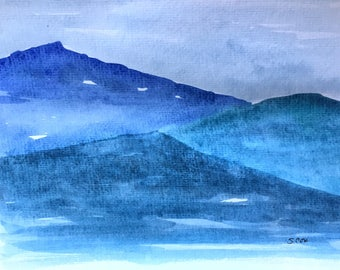 Smoky mountain art, watercolor landscape painting, Tennessee art, abstract mountains,  impressionist Nature art, Blue artwork, Pigeon Forge