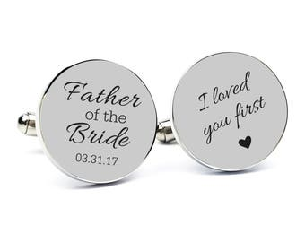 Personalized Cufflinks Engraved Cufflinks Round Custom Cuff link Gifts for Him Father of the Bride Cufflink Father of the Bride Gift Dad