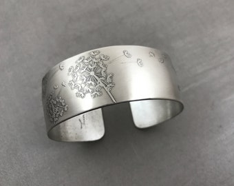Dandelion Chunky Cuff Bracelet Solid Sterling Silver Wide Seeds Dreams Wishes Engraved Birthday 25th Anniversary Encouragement Gift
