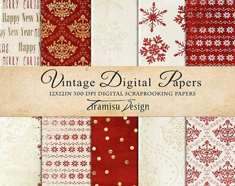 Christmas Scrapbook Papers , Vintage Digital Paper Pack, Card Making,sku- 28