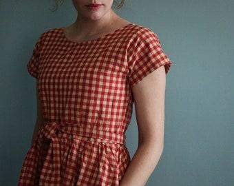 Dress, Vintage Dress, Retro Dress, Long Dress, 1950's Dress, Short Sleeve dress, full dress, summer dresses women, red check dress, 1960's