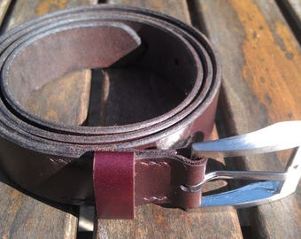brown leather belt silver buckle, size M, handmade, high quality