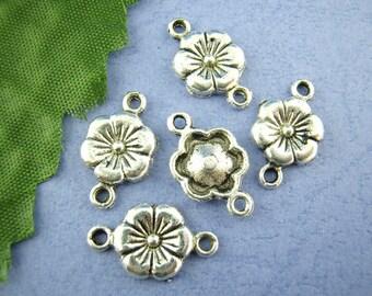 Antique Silver Tone Zinc Metal Alloy Flower Connector/Links - 10x18mm (B186c/370c)
