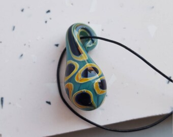 Lampwork boro glass leather necklace