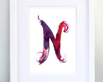 Print, Art Print, Wall Decor, Wall Art, Illustration Print, Purple Red Pink Violet Ink Drawing, Letter N, print 8x11.5 inch (21x29.5 cm)