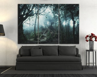 3 Panel Fantasy Forest Leather Print/Forest Wall Art/Mystic Print/3  Pieces/Multi Panel Print/Multi Panel Wall Art/Better Than Canvas!