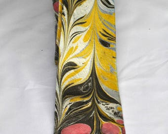Marbled Neck Tie 100% Silk, Bright Red Circles, Black Feathery Lines, Contemporary, Hipster, Bold, Stylish, #66-17