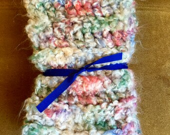 Multicolored Crochet Scarf, Variegated Scarf, Crocheted Scarf