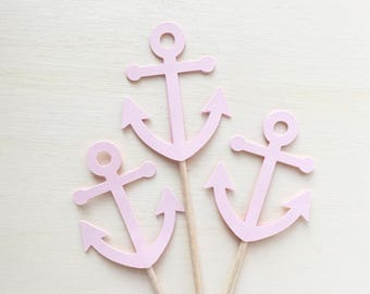 Nautical Anchor Cupcake Toppers, Baby Shower, Wedding, Party Decor, Pink, Double-Sided, Set of 18