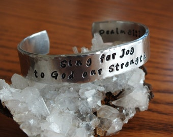 "Sing for Joy - 1/2"" Aluminum Prayer Cuff"
