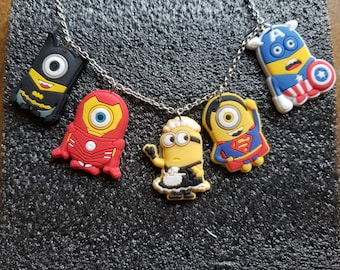 Handmade 5 pcs Minion super hero Charm Necklace