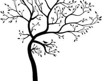 Big Tree with bird vinyl decal/sticker