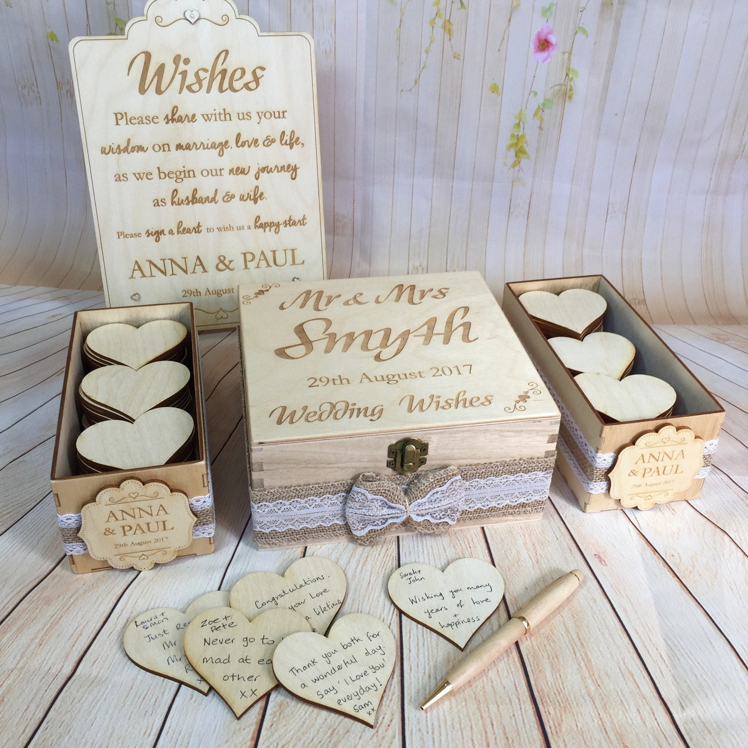 Wedding Guest Book Alternative Drop in Wish Box Wishes Wood
