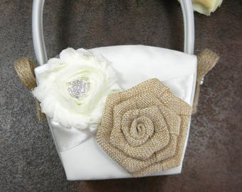 Burlap Flower Girl Basket, Rustic Flower Girl Basket, Wedding Flower Basket, Ivory or White Crystal Rhinestone Flower Basket, MORE COLORS