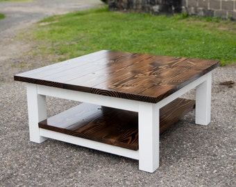 Square Coffee Table    Solid Wood Farmhouse Coffee Table   Rustic Coffee Table   Built to Order