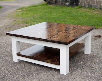 Square Coffee Table | Solid Wood Farmhouse Coffee Table | Rustic Coffee  Table | Built To