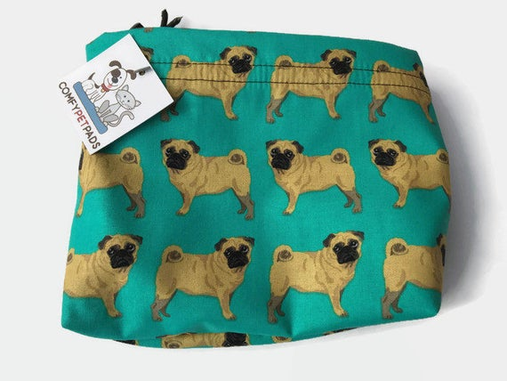 Pug Bag, Make Up Bag, Pug Fabric, Drawstring Project, Craft Bag, Knitting Pouch, Gymnastics Grip Bags, Leash Holder, Goody Bags, Treat Pouch