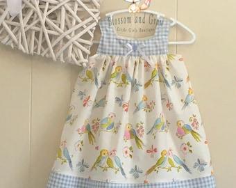 Love Birds Dress, Blue, Love Birds, Birds, Gingham, baby dress, girls dress
