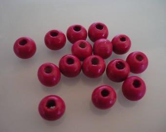 35 pink wood beads 10 mm round