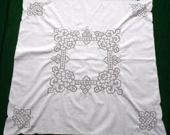 Vintage cotton square tablecloth floral embroidery lot of hemstitches  beige table cloth square table topper