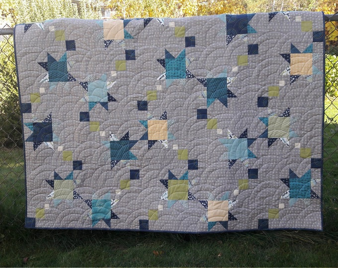 Shooting Stars baby boy, shooting star, patchwork, pdf quilt pattern