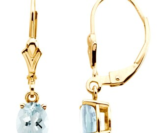 Aquamarine Dangle Earrings 14K Yellow Gold Genuine Blue Gemstone Leverback Drop Earrings - 7 x 5mm Oval - March Birthstone - Gift For Her