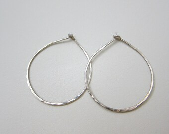 Sterling Silver Hoop Earrings 1 1/2 Inch
