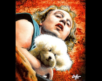 """Print 11x14"""" - It puts the lotion in the basket - Buffalo Bill Silence of the Lambs Hannibal Lecter Ted Levine Dark Art Horror Pop Art Dog"""