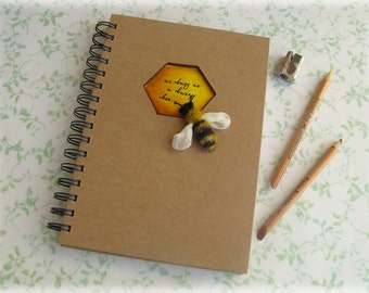 Honey Bee Notebook Honeycomb Aperture Nature Journal A5 kraft notepad MADE TO ORDER